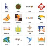 Set of indian food, colibri, football, linen, bowling team, caviar, monarch butterfly, deluxe, shisha icons. Set Of 16 simple editable icons such as indian food Royalty Free Stock Photography