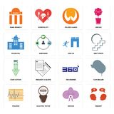 Set of inquiry, orchid, tracker, 360 degree, cost uction, join us, municipal, folded hands, bank branch icons. Set Of 16 simple editable icons such as inquiry Stock Images