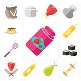 Set of Jam, Apple, Pear, Mustard, Butcher, Sushi, Spatula, Panca. Set Of 13 simple editable icons such as Jam, Apple, Pear, Mustard, Butcher, Sushi, Spatula royalty free illustration