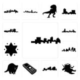 Set of jamaica, unicorn head, louisiana outline on white background, cell phone, raccoon, kentucky state, star david, wisconsin, h. Set Of 13 simple editable Royalty Free Stock Photography