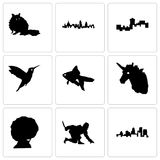 Set Of 9 simple editable icons such as kentucky state, ninja, afro. Unicorn head, goldfish, hummingbird, montana, london, raccoon, can be used for mobile, web Royalty Free Stock Photos