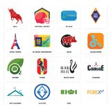 Set of, kiwi, dry cleaning, black swan, oxygen, boar, eiffel tower, 20 year, bull icons. Set Of 16 simple editable icons such as, kiwi, 3 letter, dry cleaning Royalty Free Stock Photography