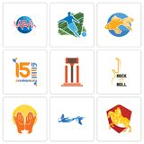 Set Of 9 simple editable icons such as knight on horse, mermaid, prayer hands. Rock n roll, legal, 15th anniversary, goldfish, football, med, can be used for Royalty Free Stock Photos