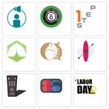 Set Of 9 simple editable icons such as labor day, 86, tv remote. Kayak, hamster, marquee, step 1, 8 ball pool, campaign management, can be used for mobile, web Stock Image