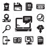 Set of Laptop, File, Video call, Open book, Smartphone, Cloud computing, Search, Phone Location icons. Set Of 13 simple editable icons such as Laptop, File Royalty Free Stock Images