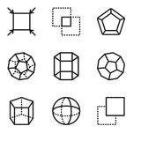 Set Of 9 simple editable icons such as Layer, Sphere, Cylinder, Dodecahedron, Pentagon, Intersection, Fit, pixel perfect vector ic. Set Of 9 simple editable Royalty Free Stock Photos