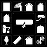 Set of Leak, Temperature, Smart home, Remote, Voice control, Gar royalty free illustration