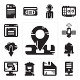 Set of Location, Server, Diskette, Mailbox, Video call, Bell, Cloud computing, Satellite, Browser icons. Set Of 13 simple editable icons such as Location, Server Royalty Free Stock Photography