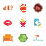 Set Of 9 simple editable icons such as lollipop, cabbage, couch. Window cleaning, chili pepper, lips, cacao, bear paw, dice, can be used for mobile, web Royalty Free Stock Photos