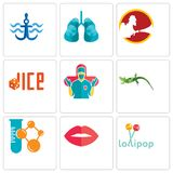 Set Of 9 simple editable icons such as lollipop, lips, chemical company. Lizard, surgeon, dice, lungs, navy anchor, can be used for mobile, web Royalty Free Stock Photos