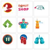 Set Of 9 simple editable icons such as lungs, boxing gloves, pause. First birthday, surgeon, recycle, truck company, donut shop, , can be used for mobile, web Royalty Free Stock Images