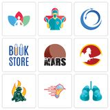 Set Of 9 simple editable icons such as lungs, catering services, firemen. Mars, book store, import export, surgeon, chakra, can be used for mobile, web Stock Photography