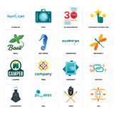 Set of lux, tribe, locomotive, statement, camper, badminton, basil, 30 anniversary, hurrican icons. Set Of 16 simple editable icons such as lux, tribe, SOZ Royalty Free Stock Photos