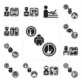 Set of Maid, Taxi driver, Spaceman, Concierge, Programmer, Hairdresser, Builder, Singer, Scientist icons. Set Of 13 simple editable icons such as Maid, Taxi Royalty Free Stock Photography