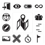 Set of Map, Flag, Compass, Multiply, Picture, Lines, Forbidden, royalty free illustration
