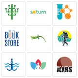 Set Of 9 simple editable icons such as mars, chakra, navy anchor. Trekking, lizard, book store, chemical company, saturn, digital tree, can be used for mobile Stock Photos