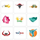Set Of 9 simple editable icons such as martial arts, texas, bull horn. Hand shaking, 10 years, yoga studio, bike shop, chopper, can be used for mobile, web Stock Images