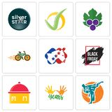 Set Of 9 simple editable icons such as martial arts, 10 years, homemade food. Black friday sale, democrat, bike shop, grape leaves, checkmark, silver star, can Royalty Free Stock Photography