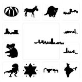 Set of maryland outline, in black, india, utah, star david, t rex, oklahoma, koala, montana icons. Set Of 13 simple editable icons such as maryland outline, in Royalty Free Stock Photography
