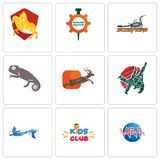 Set Of 9 simple editable icons such as med, kids club, mermaid. Judo, antelope, chameleon, scorpions, spare parts, knight on horse, can be used for mobile, web Royalty Free Stock Image
