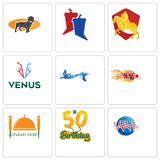 Set Of 9 simple editable icons such as med, 50th birthday, indian food. Hot rod, mermaid, venus, knight on horse, debate, dachshund, can be used for mobile Stock Images