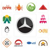 Set of mercedes, hearth, oval, 90th anniversary, working class, alpha, milk company, cake campsite icons. Set Of 13 simple editable icons such as mercedes Royalty Free Stock Photos