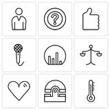 Set Of 9 simple editable icons such as Mercury thermometer, Old phone, Heart, Weighing scale, Bar chart, Voice recorder. Thumb up, Question mark, Male avatar Stock Photography