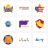 Set Of 9 simple editable icons such as mermaid, ping pong, bengal tiger. Knight on horse, 100th anniversary, med, us map, veterans day, bird nest, can be used Royalty Free Stock Photo