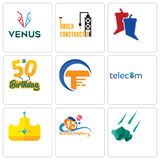 Set Of 9 simple editable icons such as meteorite, 45th anniversary, royal. Telecom, traders, 50th birthday, debate, under construction, venus, can be used for Stock Photo