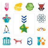 Set of military, chemical company, s hexagon, year the dog, bank, speedometer, penguin, celtic knot, surgeon icons. Set Of 13 simple editable icons such as Royalty Free Stock Photo