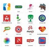 Set of mobile silent, steakhouse, heptagon, music, mms, saudi palm, fragile handle with care, parlour, f icons. Set Of 16 simple editable icons such as mobile Stock Images