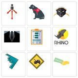 Set Of 9 simple editable icons such as money back guarantee, towing, stealth bomber. Rhino, action plan, dress code, honey badger, service dog, approach, can Royalty Free Stock Photos