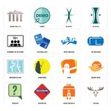 Set of moose, bank branch, inquiry, dab, broken glass, earthquake, number players, elastic, municipality icons. Set Of 16 simple editable icons such as moose Royalty Free Stock Image