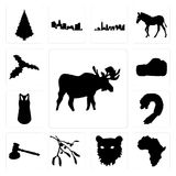 Set of moose outline on white background, african continent tiger face mistletoe background icons. Set Of 13 simple editable icons such as moose outline on white Stock Photos