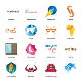 Set of, motorcycle club, mountain bike, hockey stick, wardrobe, masquerade, carpet, paper plane, fortress icons. Set Of 16 simple editable icons such as Stock Photos