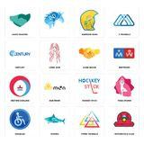 Set of motorcycle club, three triangle, disabled, hockey stick, heating cooling, hand shake, century, warrior head, shaking icons. Set Of 16 simple editable Stock Photography