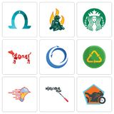 Set Of 9 simple editable icons such as motorcycle shop, mascara, catering services. Recycle reuse uce, import export, year of the dog, starbucks, firemen Royalty Free Stock Photography