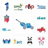Set of mower, , panda mascot, mart, house with wings, savage, air mail, silent, superstar icons. Set Of 13 simple editable icons such as mower, , panda mascot Stock Photos