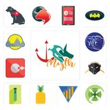 Set of myth, extend, yield, pinapple, zipper, honey badger, output, photography camera, montain icons. Set Of 13 simple editable icons such as myth, extend Royalty Free Stock Photography