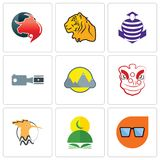 Set Of 9 simple editable icons such as nerd glasses, quran, hoopoe. Lion dance, montain, footage, purple cobras, tiger, taurus professional, can be used for Royalty Free Stock Photo