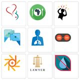 Set Of 9 simple editable icons such as no water, lawyer, d-star. Convert, inflammation, video call, panic, hunger, gynecology, can be used for mobile, web Stock Photos