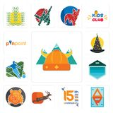 Set of norse, ap, 15th anniversary, antelope, bengal tiger, garage door, football, wizard hat, pinpoint icons. Set Of 13 simple editable icons such as norse, ap Royalty Free Stock Images