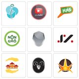 Set Of 9 simple editable icons such as nova, ram, realtor. Jz, shield, non gmo, mms, pinetree, neurosurgery, can be used for mobile, web Stock Photo