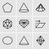 Set Of 9 simple editable icons such as Octahedron, Cone, Circle, Transform, Diamond, Icosahedron, Prism, Pentagon, pixel perfect v. Set Of 9 simple editable Stock Photography