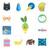 Set of olive oil, pillow, grizzly bear, taxi, book shop, texas, disability, hands shaking, masquerade icons. Set Of 13 simple editable icons such as olive oil Royalty Free Stock Image