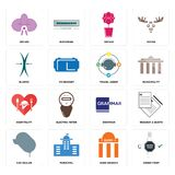 Set of order form, bank branch, car dealer, grammar, hospitality, travel agent, elastic, orchid, orchid icons. Set Of 16 simple editable icons such as order form Stock Photos