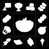 Set of Pasta, Ice cream, Toast, Bacon, Kebab, Pomegranate, Cauli. Set Of 13 simple editable icons such as Pasta, Ice cream, Toast, Bacon, Kebab, Pomegranate Stock Illustration
