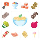 Set of Pasta, Ice cream, Toast, Bacon, Kebab, Pomegranate, Cauli. Set Of 13 simple editable icons such as Pasta, Ice cream, Toast, Bacon, Kebab, Pomegranate Vector Illustration