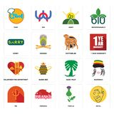 Set of patel, thistle, psi, saudi palm, volunteer fire department, rottweiler, sorry, agro, chef icons. Set Of 16 simple editable icons such as patel, thistle Royalty Free Stock Photos