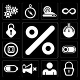 Set of Percent, Locked, User, Mute, Battery, Switch, Stop, Stopw. Set Of 13 simple editable icons such as Percent, Locked, User, Mute, Battery, Switch, Stop stock illustration